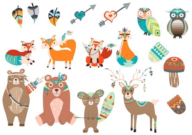 Colección de animales con estilo boho