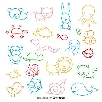Colección de animales estilo infantil