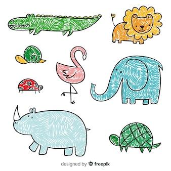Colección de animales en estilo infantil