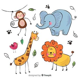 Colección de animales en estilo infantil.