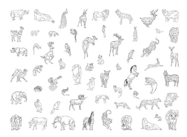Colección de animales en estilo lineal.