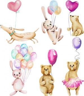 Colección de animales festivos de acuarela con globos aerostáticos (conejos, osos y perros)