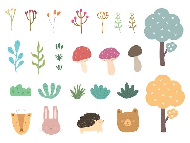 Colección de animales forestales y árboles florales