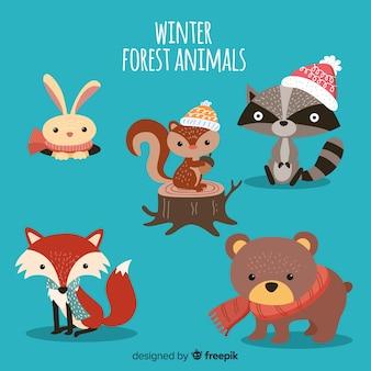 Colección de animales forestales de invierno