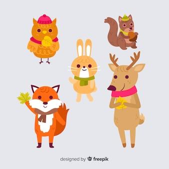 Colección de animales forestales de otoño dibujados a mano
