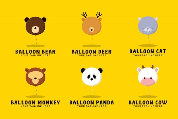 Colección de animales con globos con ilustración de logotipo de estilo plano