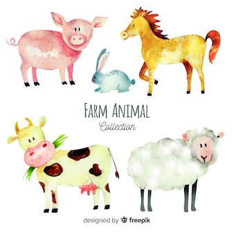 Colección de animales de granja de acuarela