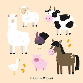 Colección de animales de granja dibujado a mano