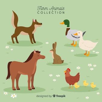 Colección de animales de granja dibujados a mano
