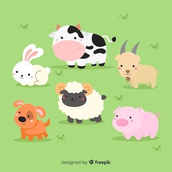 Colección animales de granja dibujados a mano