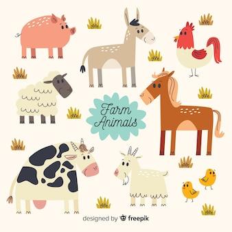 Colección de animales de granja en diseño plano