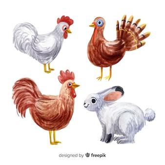 Colección de animales de granja estilo acuarela