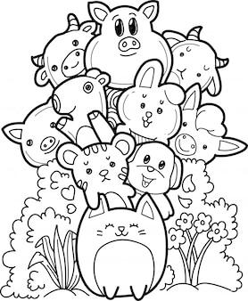 Colección de animales de granja en estilo doodle.
