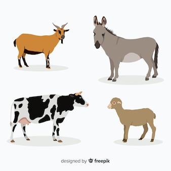 Colección de animales de granja en estilo plano