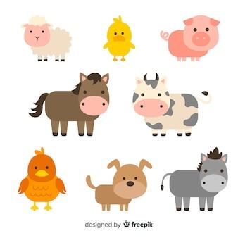 Colección animales de granja planos