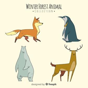 Colección animales invernales del bosque dibujados a mano