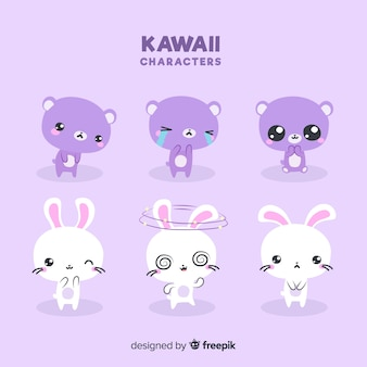 Colección animales kawaii dibujados a mano