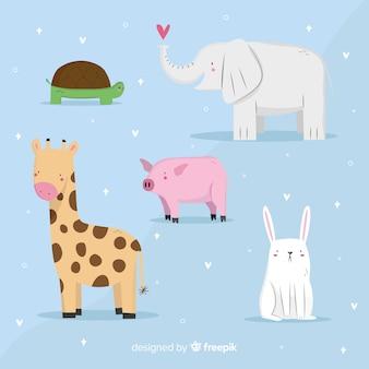 Colección de animales kawaii en estilo infantil