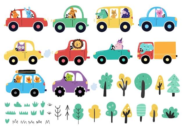 Colección de animales lindos conduciendo coches conjunto de transporte con divertidos personajes de dibujos animados