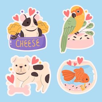Colección de animales lindos dibujados a mano
