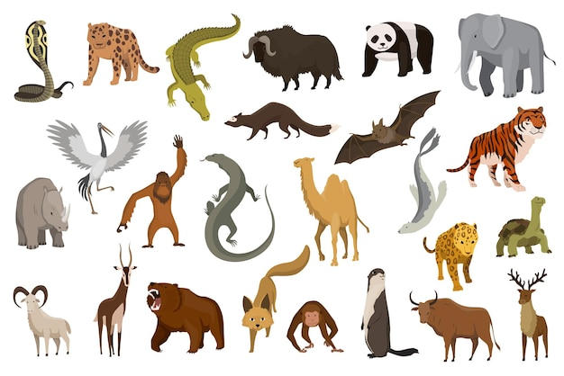 Colección de animales lindos vector. animales dibujados a mano que son comunes en asia. conjunto de iconos aislado sobre un fondo blanco.