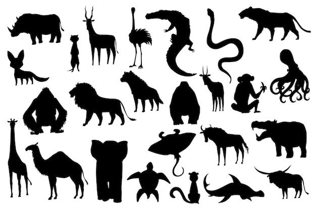 Colección de animales lindos vector. animales silueta dibujados a mano que son comunes en áfrica. conjunto de iconos aislado sobre un fondo blanco.