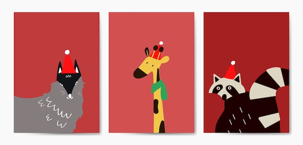 Colección de animales lindos en vector de estilo de dibujos animados