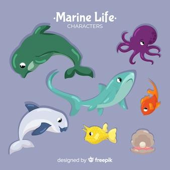 Colección animales marinos dibujados a mano