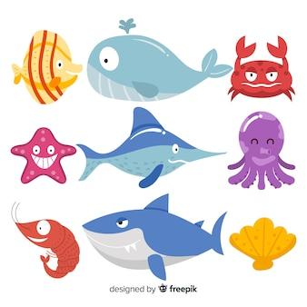 Colección animales marinos monos dibujados a mano