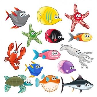 Colección de animales marítimos