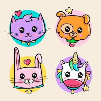 Colección de animales / mascotas kawaii