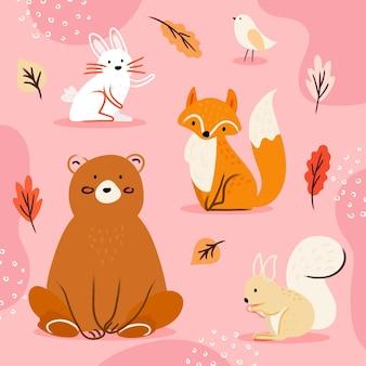 Colección de animales otoñales dibujados a mano