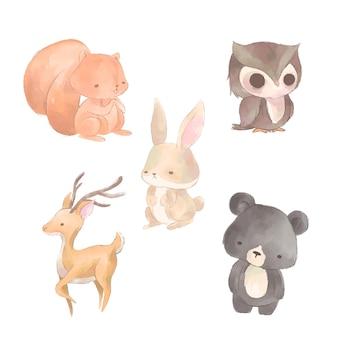 Colección de animales de otoño en acuarela