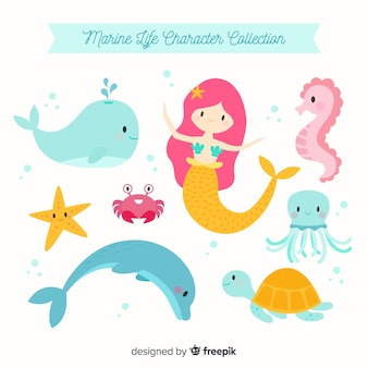 Colección de animales y personajes marinos