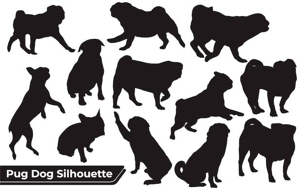 Colección de animales pug dog en diferentes posiciones.