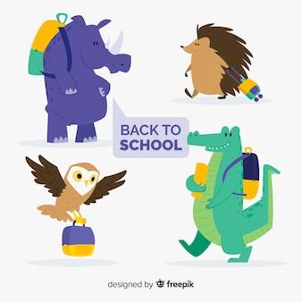Colección de animales de regreso a la escuela con mochila