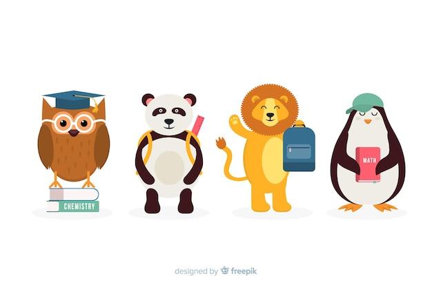 Colección de animales de regreso a la escuela con mochilas