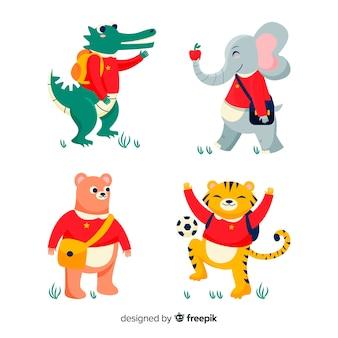 Colección de animales de regreso a la escuela con tigre