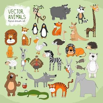 Colección de animales salvajes de dibujos animados dibujados a mano