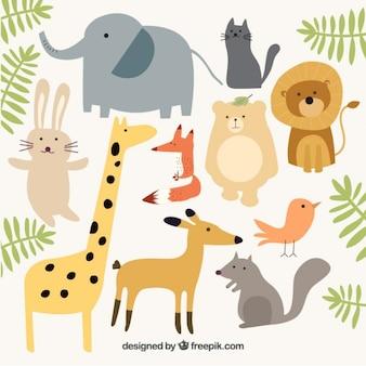 Colección de animales salvajes con hojas verdes
