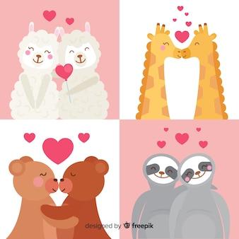 Colección animales san valentín dibujados a mano