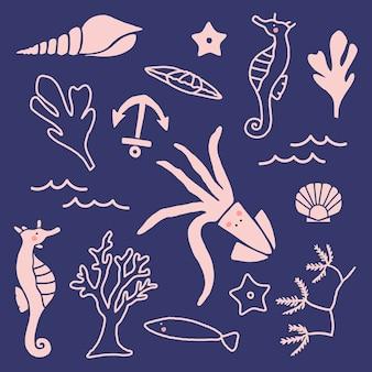 Colección de animales submarinos dibujados a mano