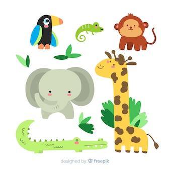 Colección de animales tropicales dibujados a mano.