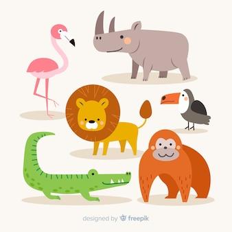 Colección de animales tropicales en diseño plano
