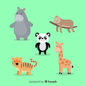 Colección animales tropicales diseño plano