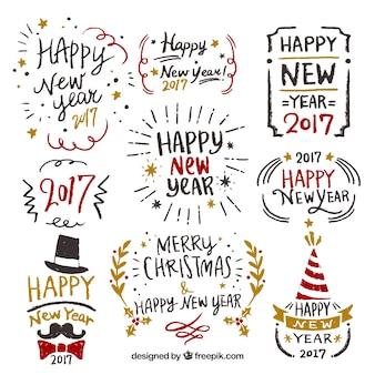 Colección de año nuevo de etiquetas dibujadas a mano