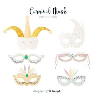 Colección de antifaces de carnaval dibujado a mano