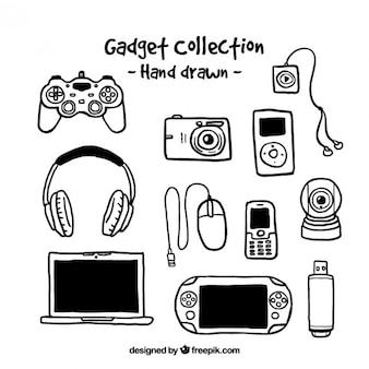 Colección de aparatos dibujados a mano