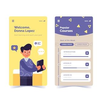 Colección de aplicaciones de cursos de diseño plano