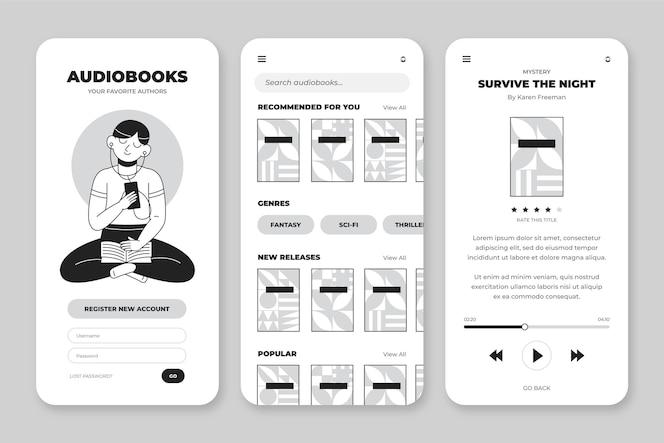 Colección de aplicaciones incoloras dibujadas a mano para smartphone